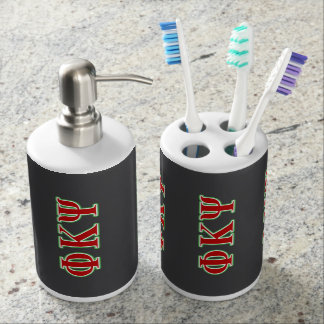 Phi Kappa Psi Red and Green Letters Bathroom Set