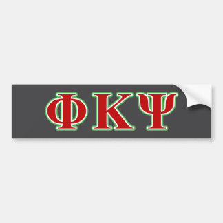 Phi Kappa Psi Red and Green Letters Car Bumper Sticker
