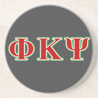 Phi Kappa Psi Red and Green Letters Drink Coaster