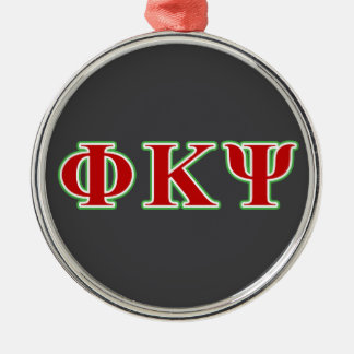 Phi Kappa Psi Red and Green Letters Metal Ornament