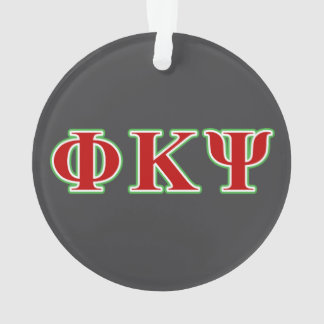 Phi Kappa Psi Red and Green Letters Ornament