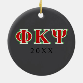 Phi Kappa Psi Red and Green Letters Double-Sided Ceramic Round Christmas Ornament
