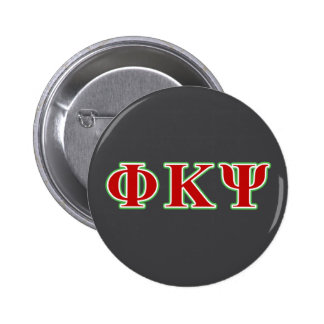 Phi Kappa Psi Red and Green Letters Pinback Button