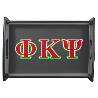 Phi Kappa Psi Red and Green Letters Serving Platters