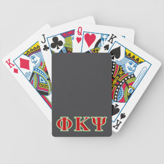 Phi Kappa Psi Red and Green Letters Bicycle Playing Cards