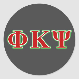 Phi Kappa Psi Red and Green Letters Stickers