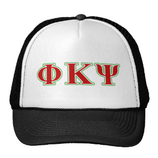 Phi Kappa Psi Red and Green Letters Trucker Hat