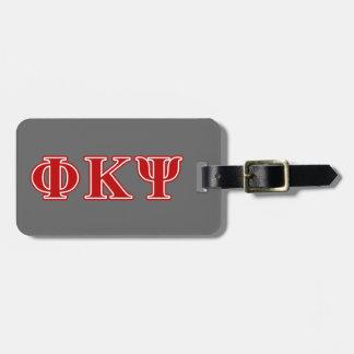 Phi Kappa Psi Red Letters Bag Tags