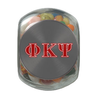 Phi Kappa Psi Red Letters Glass Candy Jars