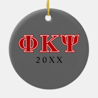 Phi Kappa Psi Red Letters Christmas Ornament