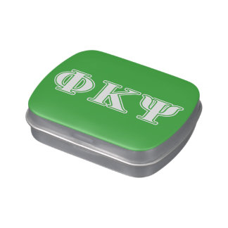 Phi Kappa Psi White and Green Letters Jelly Belly Candy Tins