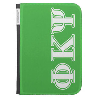 Phi Kappa Psi White and Green Letters Kindle Folio Case