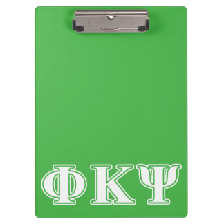 Phi Kappa Psi White and Green Letters Clipboards