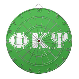 Phi Kappa Psi White and Green Letters Dartboard With Darts
