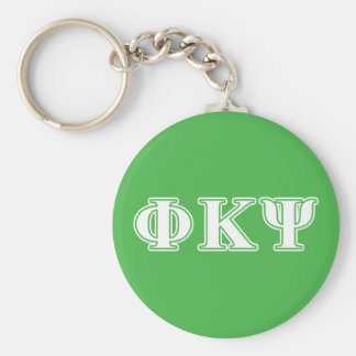 Phi Kappa Psi White and Green Letters Keychain