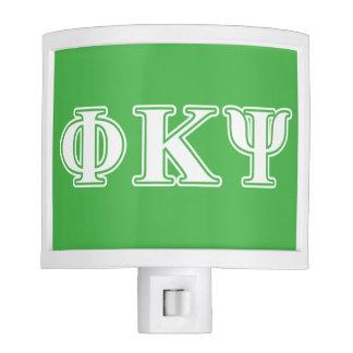 Phi Kappa Psi White and Green Letters Nite Lite