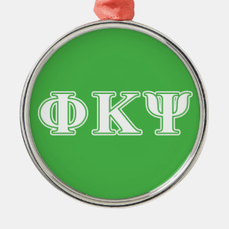 Phi Kappa Psi White and Green Letters Ornament