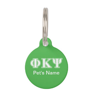 Phi Kappa Psi White and Green Letters Pet Name Tag