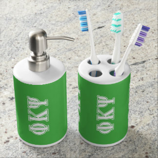 Phi Kappa Psi White and Green Letters Toothbrush Holder