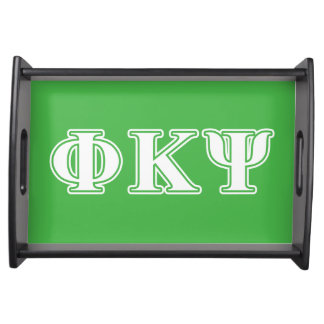 Phi Kappa Psi White and Green Letters Serving Platters