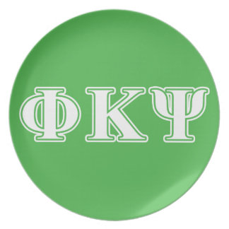 Phi Kappa Psi White and Green Letters Plate