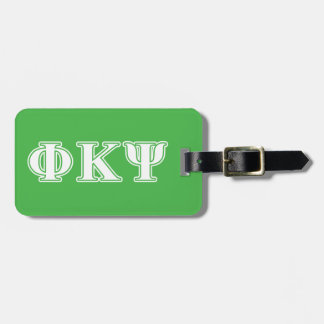 Phi Kappa Psi White and Green Letters Tag For Bags