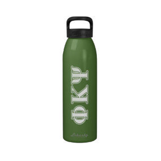 Phi Kappa Psi White and Green Letters Drinking Bottles