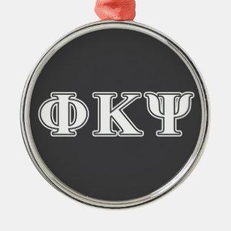 Phi Kappa Psi White Letters Christmas Tree Ornaments