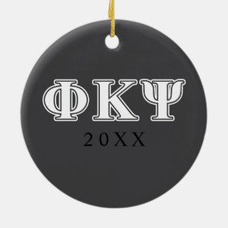 Phi Kappa Psi White Letters Ornaments