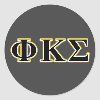 Phi Kappa Sigma Black and Gold Letters Classic Round Sticker