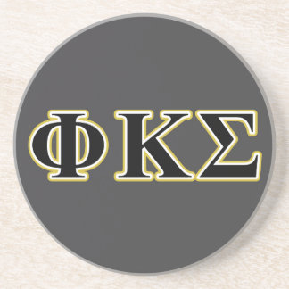 Phi Kappa Sigma Black and Gold Letters Beverage Coaster