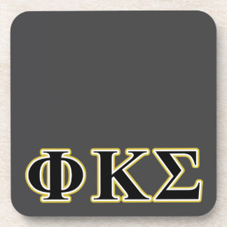 Phi Kappa Sigma Black and Gold Letters Coasters
