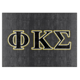 Phi Kappa Sigma Black and Gold Letters Cutting Board