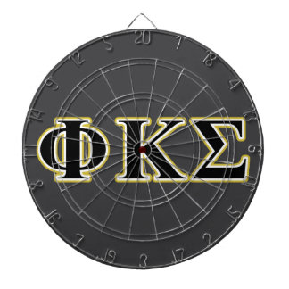 Phi Kappa Sigma Black and Gold Letters Dart Board