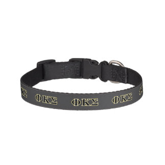 Phi Kappa Sigma Black and Gold Letters Dog Collar