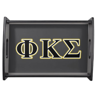 Phi Kappa Sigma Black and Gold Letters Food Tray