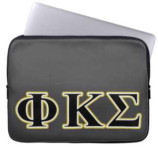 Phi Kappa Sigma Black and Gold Letters Laptop Sleeves