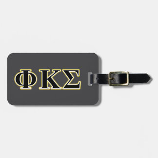 Phi Kappa Sigma Black and Gold Letters Tags For Luggage