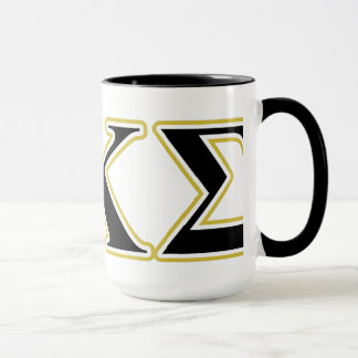 Phi Kappa Sigma Black and Gold Letters Mug