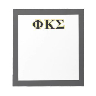 Phi Kappa Sigma Black and Gold Letters Notepads