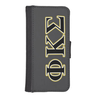 Phi Kappa Sigma Black and Gold Letters Phone Wallet Cases