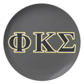 Phi Kappa Sigma Black and Gold Letters Dinner Plates