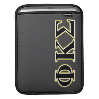 Phi Kappa Sigma Black and Gold Letters Sleeve For iPads