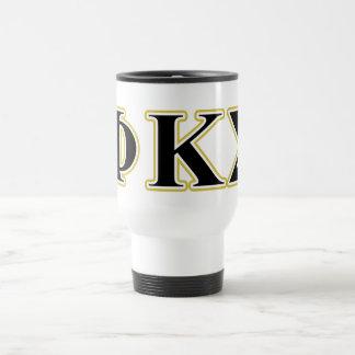 Phi Kappa Sigma Black and Gold Letters Travel Mug