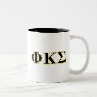 Phi Kappa Sigma Black and Gold Letters Two-Tone Coffee Mug
