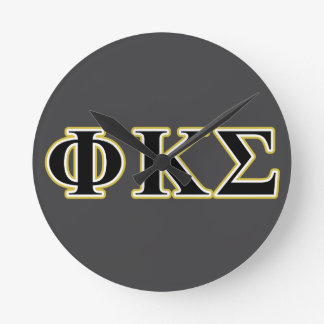 Phi Kappa Sigma Black and Gold Letters Wallclock