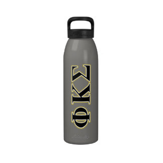 Phi Kappa Sigma Black and Gold Letters Drinking Bottle