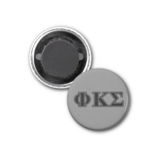 Phi Kappa Sigma Black Letters 2 1 Inch Round Magnet