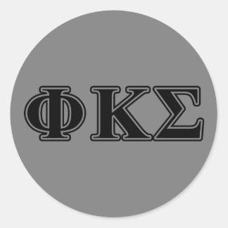 Phi Kappa Sigma Black Letters 2 Classic Round Sticker