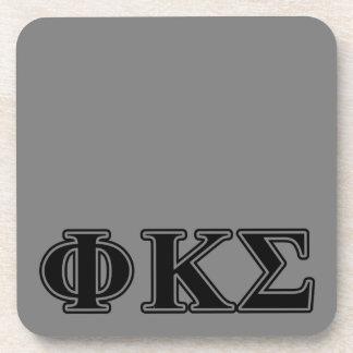 Phi Kappa Sigma Black Letters 2 Coasters